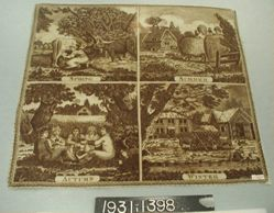 "Printed cotton handkerchief, ""The Four Seasons"""