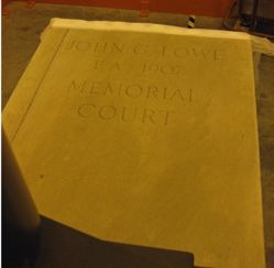 """John G. Lowe B.A. 1907 Memorial Court "" plaque from YUAG Sculpture Garden"