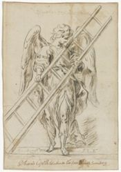 An angel holding a ladder