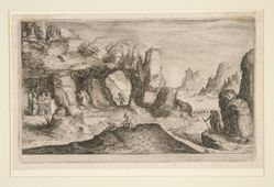 Landscape with grotto and hermits