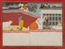 Krishna Blessed by the Elephant Airavat, from a History of the Lord (Bhagavata Purana) manuscript