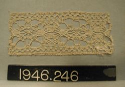 "Fragment of coarse bobbin lace, ""Cluny"" type"