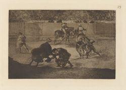 """Pepe Illo haciendo el recorte al toro (Pepe Illo Making the Pass of the """"Recorte""""), Plate 29 from La tauromaquia"""
