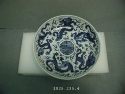 Dish with Dragons, Pearls, and Longveity Character (Shou)