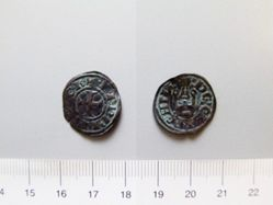 Billon denier of Charles I or II from Clarentza, Greece