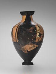 Panathenaic Prize Amphora: A: Athena, B: Chariot Race