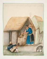 Indian Woman Serving Food to Child and a Dog