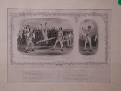 Bishop Sharpe, Born 1794 and Bishop Sharpe's fight with J. Street (Greenwich Coachman) ? a side 100r. 1h. 45m. Charlton 1819 and caus'd him to rise in the Air as shown in this engraving. A list of successful battles by Bishop Sharpe. Weight 10st.