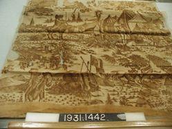 "Length of printed linen, ""A Military Encampment"""