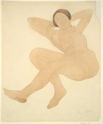 Nude, reclining, hands behind head