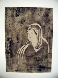 Rubbing of a woman's head