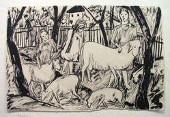 Sheep and Three Children