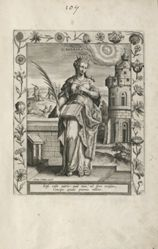 Saint Barbara, 1 of 25 plates in the series Martyrologium Sanctarum Virginum (Female Martyr Saints)