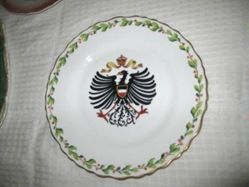 Plate with heraldic Prussian eagle with crown and laurel border