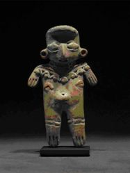 Standing figurine with ear spools, necklace and leg bands