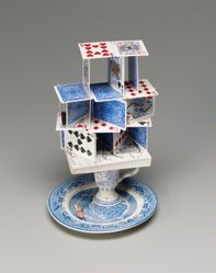 Blue and White House of Cards