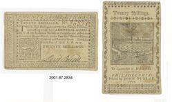 Twenty shillings bill from Philadelphia