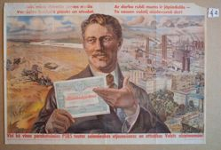 [Worker flourishing government bond before vision of industrialization]
