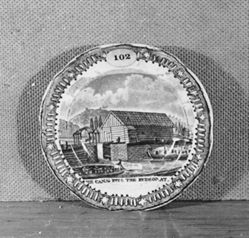 "Cup Plate with a View of ""The Canal into the Hudson at  Albany"""