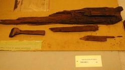 Parts of several wooden sarcophagi found in Linsly-Chit basement in 1978