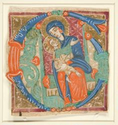 "Initial ""G""  with Madonna and Child"