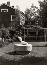 "Exterior view from Katherine S. Dreier's Milford home, ""Laurel Manor"" -- Brancusi's Leda and trellises"
