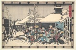 The Loyal League of Forty-seven Ronin (Chushingura) Act XI, No. 3: The Night Attack Moronao seized by the Ronin