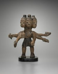 Three-Headed Male Figure with Six  Arms
