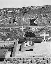 """Remains of a memorial to those killed by police in the """"Langa Massacre"""", 21 March 1985, and to others killed in the struggle against apartheid, Kwanabuhle Cemetery, Uitenhage, Eastern Cape"""