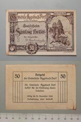 50 Heller from Aggsbach Dorf in der Wachau, redeemable 31 Dec. 1920, Notgeld