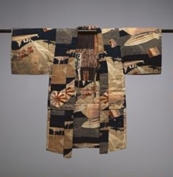 Child's Kimono with Battleships, Dirigibles, and Flags