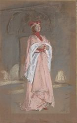 Study, Woman in pink medieval costume, white scarf