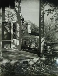 "Exterior view of Katherine S. Dreier's West Redding home, ""The Haven"" -- portico with Long Ridge United Methodist Church to the right"