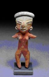 Standing female figurine with horizontal headband and red-painted body