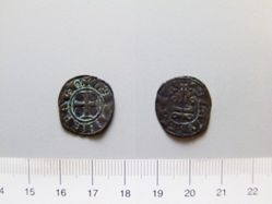 Billon denier of William II de Villehardouin from Corinth