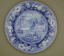 Plate with a view of Philadelphia, The Dam and Water Works (Boat, stern wheel)