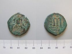 Half-follis (40-nummi) of Maurice Tiberius from Antioch
