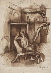 Three Acrobatic Figures with Seated Woman