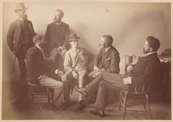"Group Portrait of Frederick B. Schell, W. C. Fitler, ""Hop"" (Livingston Hopkins), Phil May, Julian Ashton, W. T. Smedley, from the album [Sydney, Australia]"