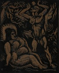 Linoleum block for Adam and Eve