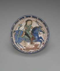 Bowl with a Rider, Hound and Two Birds