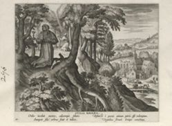 Otilia of Bavaria, one of 24 prints from the series Solitudo Sive Vitae Foeminarum Anachoritarum (Female Hermits in Landscapes)