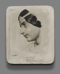 Lithographic stone for Head of a Woman for a model book