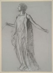 """Early figure study for """"The Hours"""" ceiling at the state capitol building in Harrisburg, Pennsylvania"""