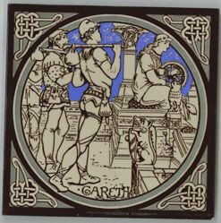 "One of a set of Minton tiles: ""Gareth"""