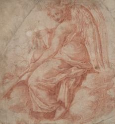Seated angel with bagpipes