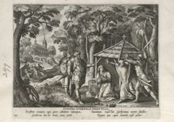 Dympna of Gheel, one of 24 prints from the series Solitudo Sive Vitae Foeminarum Anachoritarum (Female Hermits in Landscapes)