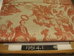 "Textile, ""America Presenting at the Altar of Liberty Medallions of her Illustrious Sons"" Pattern"