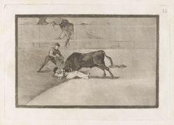 La desgraciada muerte de Pepe Illo en la plaza de Madrid (The Unlucky Death of Pepe Illo in the Ring at Madrid), Plate 33 from La tauromaquia