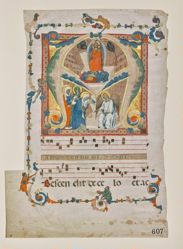 "Leaf from an Antiphonary: Initial ""A"" with the Resurrection and Three Marys at the Tomb"